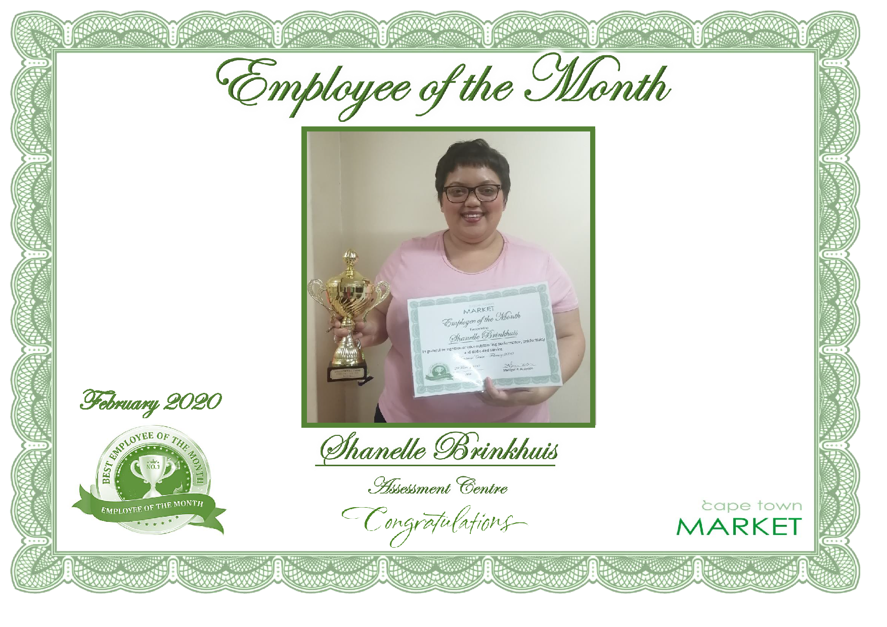 FEBRUARY 2020-EMPLOYEE OF THE MONTH